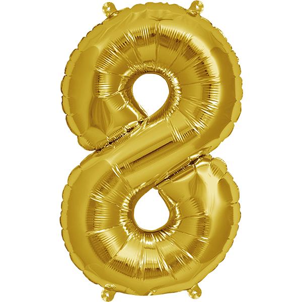 Globo Numero 8 Dorado