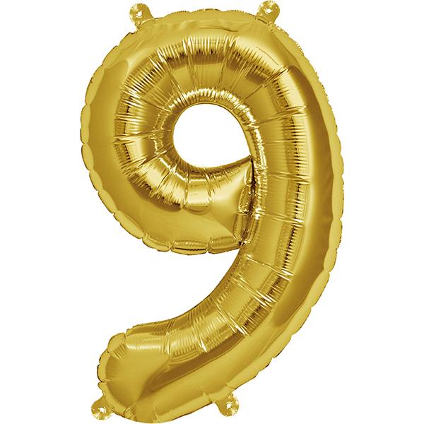 Globo Numero 9 Dorado