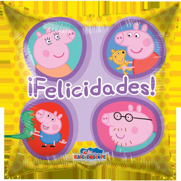 Globo Pepa Y Familia Cuadrada Amarilla