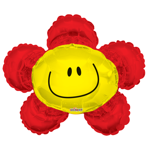 Globo Smiley Flor  Rojo